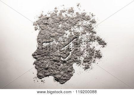 Mythical Satyr Boy Profile Face Made Of Ash
