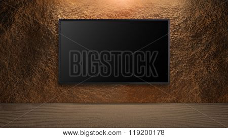 Led Television On Rock Wall Background Turn Off