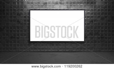 Led Tv Display On Metal Square Wall Background