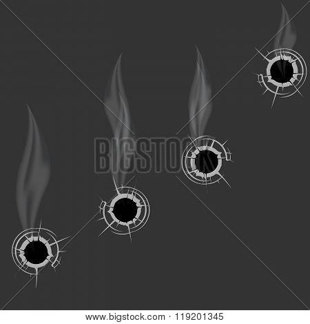 Smoking Bullet Holes - Cracked Shooting Holes