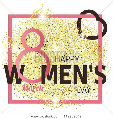 Gold glitter Women's Day.Women's Day Vector. Women's Day Drawing