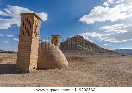 Tower of Silence ancient zoroastrian site in Yazd Iran poster