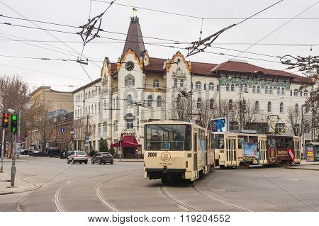Central part of the Dnepropetrovsk city with hotel Ukraine