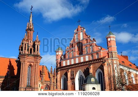 St. Anne's Church and the church of the Bernardine Monastery in Vilnius, Lithuania