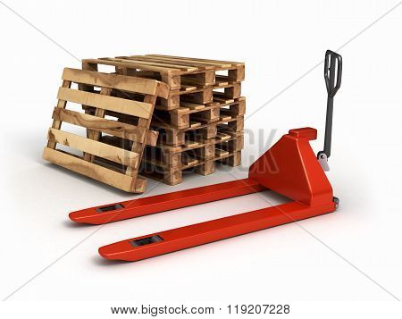 Pedestrian Stacker For Pallets And Pallets Lying Near Isolated On White Background