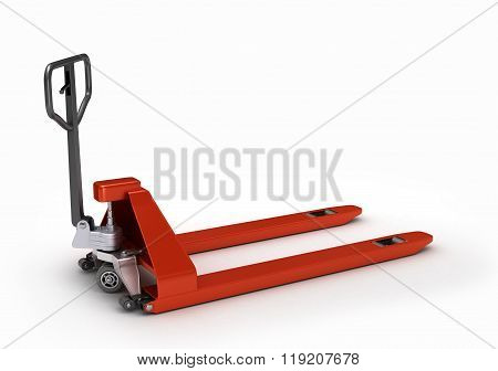 Hand Pallet Truck, Isolated On White Bacgrownd