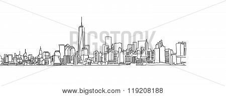 Free Hand Sketch Of New York City Skyline. Vector Scribble