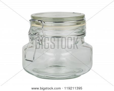 Glass Jar On White Background