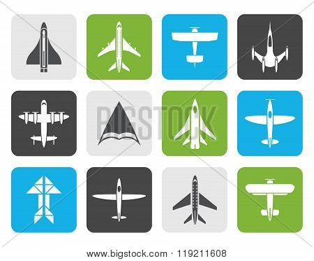 Flat different types of plane icons