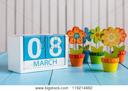 March 8th, save the date blue block calendar for International Women's Day, march 8, decorated with