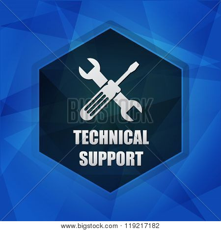 Technical Support With Tools Sign Over Dark Blue Background, Flat Design