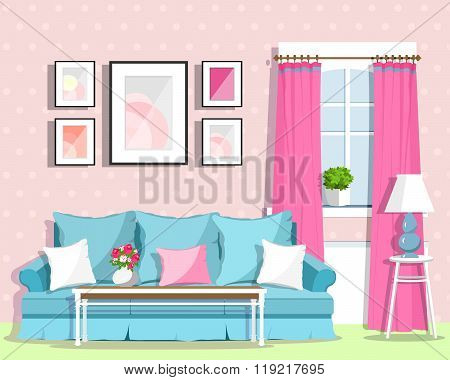 Cute colorful living room interior design with furniture. Retro style room.