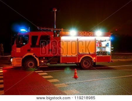 Night fire truck.