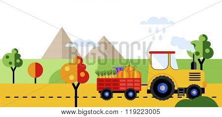 Farm tractor. Tractor on farmers field background with harvest. Farm tractor icon. Farmers landscape. Farm transport. Farm tractor on road. Farm tractor sign. Farm truck.