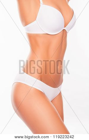 Close Up Portrait Of Fit Slim Woman's Body