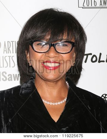 LOS ANGELES - FEB 20:  Cheryl Boone Isaacs at the Make-Up Artists And Hair Stylists Guild Awards at the Paramount Studios on February 20, 2016 in Los Angeles, CA