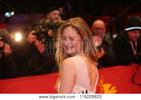Actress Julia Jentsch attends the '24 Wochen' premiere during the 66th Berlinale International Film Festival Berlin at Berlinale Palace on February 14, 2016 in Berlin, Germany.
