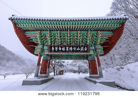 Gate Of Baekyangsa Temple And Falling Snow, Naejangsan Mountain In Winter With Snow,famous Mountain