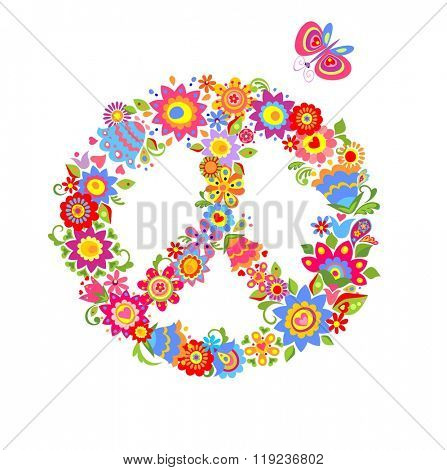 Peace flower symbol with colorful funny flowers