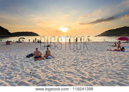 Phuket, Thailand - January 7 : The Unidentified People Are Relax At Nai Harn Beach On January 7