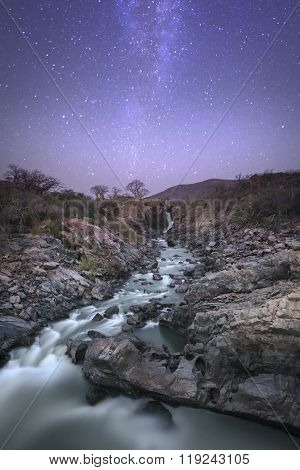 Epupa Falls second gorge under the Milky Way poster