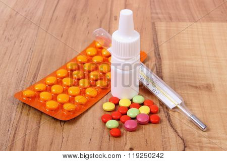 Pills, Thermometer And Nose Drops And For Colds, Treatment Of Flu And Runny