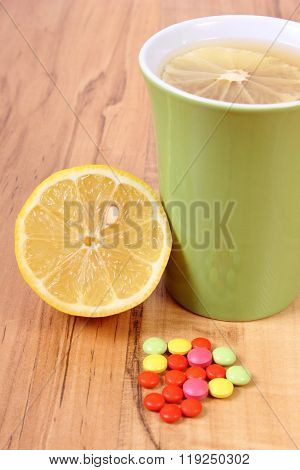 Pills And Hot Tea With Lemon For Colds, Treatment Of Flu And Runny