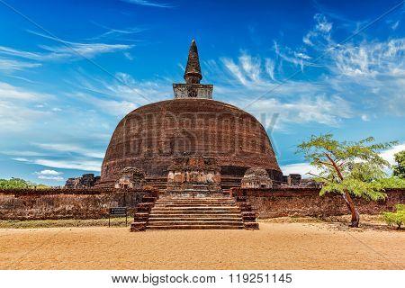 Sri Lankan tourist landmark - ruins of Rankot Vihara - Buddhist dagoba (stupa).  Pollonaruwa, Sri Lanka