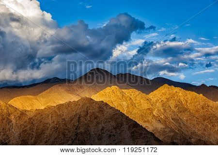 Himalayas (Zanskar mountain range) on sunset. Leh, Ladakh, India