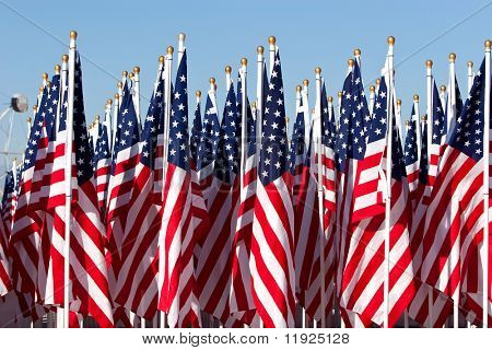 American flags during 4th of July parade