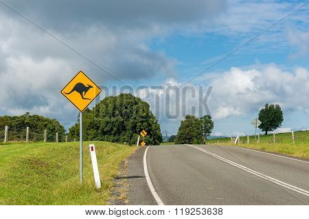 Australian outback road with kangaroo road sign. Country road in rural Australia with kangaroo on the road warning road sign