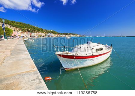 Fishing boats on the bay at Zakinthos town, Greece