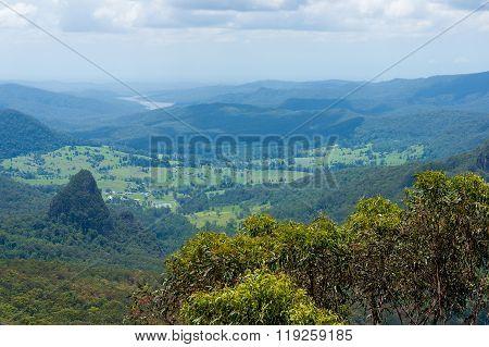 Beautiful wet tropical rainforest aerial view. Hiking in rainforest. Adventure rainforest Lamington National Park Queensland Australia