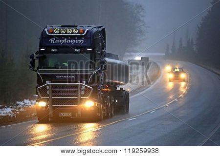 Scania Semi R500 Tank Truck In Fog