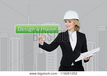 Business woman pressing desing a hause button on virtual screens. Residential Blocks. Business, tech