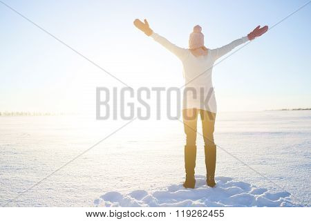 Beautiful Healthy Young Woman Breathing Fresh Air