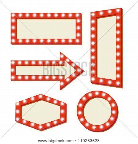 retro Red frame. Vintage Signs.