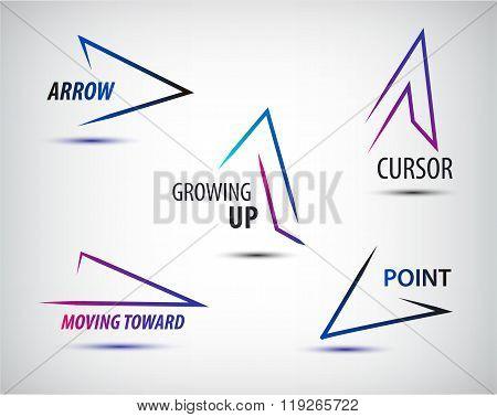 Vector set of line colorful arrows templates, arrow