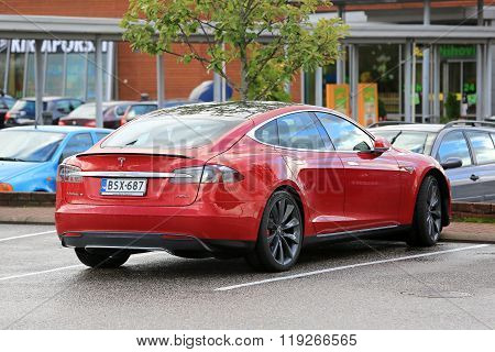 Red Tesla Model S P85D Electric Car Parked