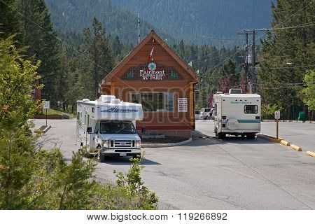 Check in at RV park