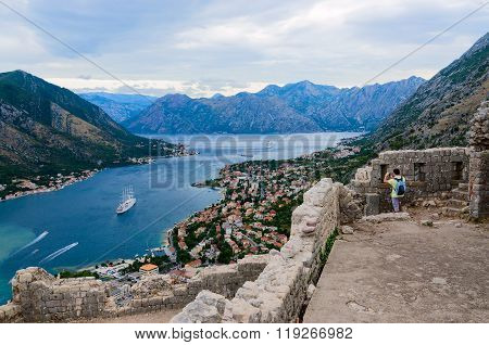Ruins Of Illyrian Fort Over Bay Of Kotor, Montenegro