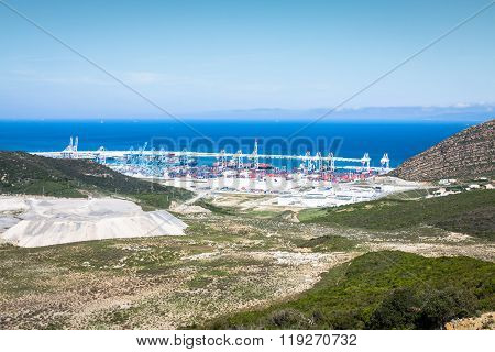 New passenger terminals under construction in Port of Tangier Africa poster
