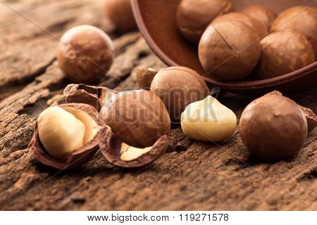 Close Up Macadamia Nuts On Wooden Plate