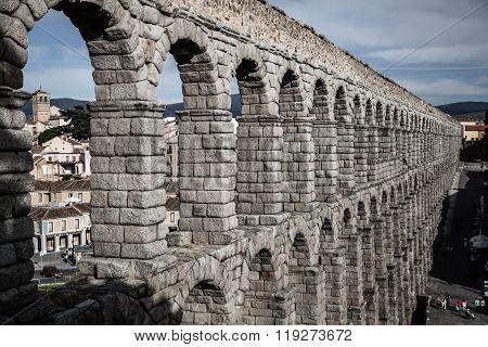 the Famous Ancient Aqueduct In Segovia, Castilla Y Leon, Spain.