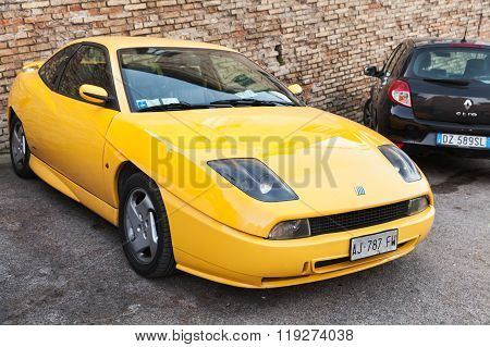 Yellow Fiat Coupe  Or Type 175 Sports Car