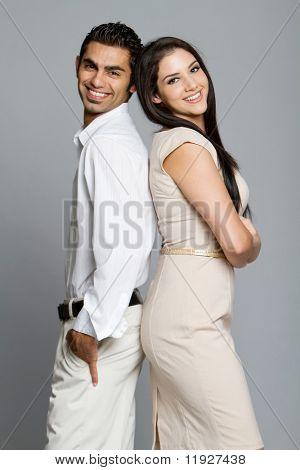Young happy ethnic couple