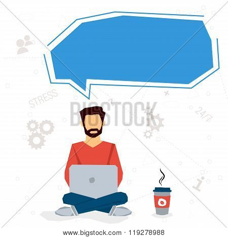 Man working overtime - workaholic it is dangerous