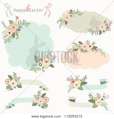 Floral Easter Frames and Banners Set