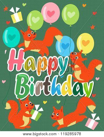 Happy Birthday Card With Cute Squirrel. Vector Illustration. Cute Baby Squirrel. Happy Birthday Beautiful. Happy Birthday Meme. Happy Birthday Sign. Happy Birthday To You. Happy Birthday Funny.