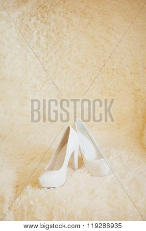 Cute stylish beige high heels  on the background room, glamor, f